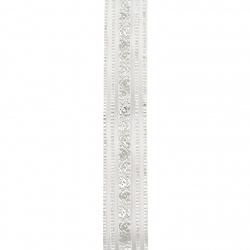 Κορδέλα οργάντζα 25 mm λευκό με ασημί σχέδιο -2 μέτρα