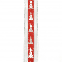 Braid organza and satin 40 mm red with lame silver Christmas tree -2 meters