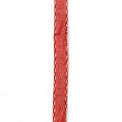Panglică Organza 20 mm roșu cu lame argintie -2 metri