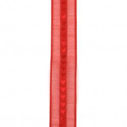 Лента органза и сатен 25 мм червена сърца -5 метра
