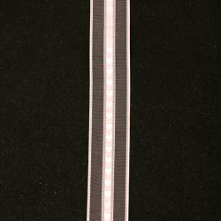 Лента органза и сатен 25 мм розова сърца -2 метра