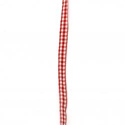 Ширит текстил 8 мм каре червено и бяло -10 метра