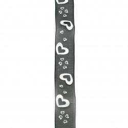 Panglică Organza 25 mm inimioare imprimate negru alb -2 metri