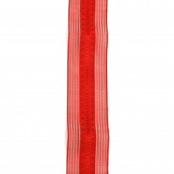Organza braid and satin 40 mm red with silver lamella -2 meters