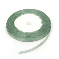 Panglica de satin / pentru decor / 6 mm verde pastel ~ 22 metri