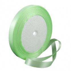 Panglica satin 10 mm verde  deschis~ 22 metri