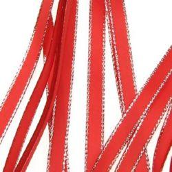Лента Сатен 6 мм червена с ламе сребро -5 метра