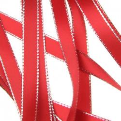 Лента Сатен 9 мм червена с ламе сребро -5 метра
