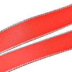 Лента Сатен 6 мм червена светло с ламе сребро -5 метра