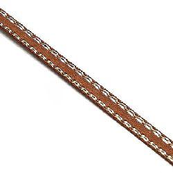 Лента сатен 6 мм кафява с ламе сребро -5 метра