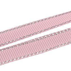 Лента Сатен 9 мм розова рипс с ламе сребро -5 метра