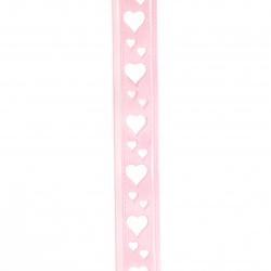 Κορδέλα σατέν 22 mm ροζ με καρδιές -3 μέτρα