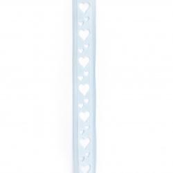 Κορδέλα σατέν 22 mm μπλε με καρδιές -3 μέτρα