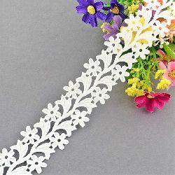 Сатенена лента цветя 30 мм бяла -2 метра