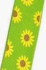 Ширит сатен 9 мм рипс с щампа слънчогледи зелен -5 метра