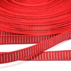 Сатенен ширит 12 мм рипс червен -5 метра