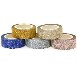 Paper tape with glitter particles 15 mm MIX