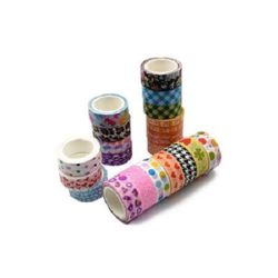 Decorative paper tape 15 mm ASSORTED - 5 meters