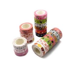 Craft tape for decoration 15 mm MIX