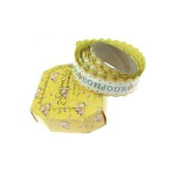 Adhesive Washi Tape, Decorations, Gift Wrapping, DIY Crafts, Scrapbooking, Decoupage 20 mm yellow adhesive -1.5 meters