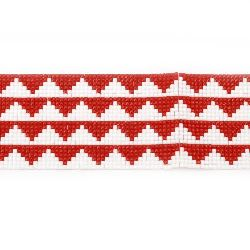 Tape 60 mm for hot gluing with 4 rows of white and red stones -40 cm