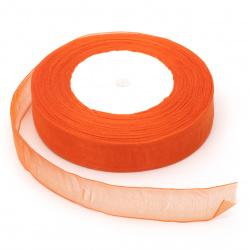 Лента органза 20 мм оранжева тъмно ~45 метра