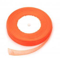 Panglică Organza 12 mm lumină portocalie -45 metri