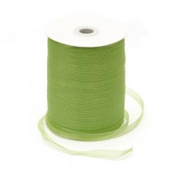Лента органза 7 мм зелен светло -20 метра