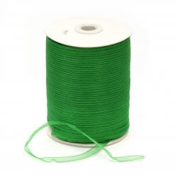 Лента органза 7 мм зелен -20 метра