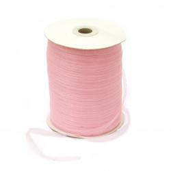 Лента органза 6 мм розова светло -20 метра