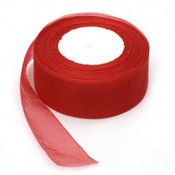 Лента органза 38 мм червена ~45 метра
