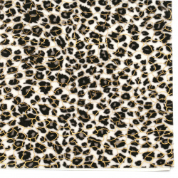 Self-adhesive Velor 19x27 cm leopard pattern color white and black gold thread