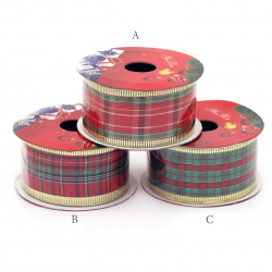 Decorative Christmas Ribbon, Textile, Wired Edge, Assorted Patterns 38mm - 2.70m