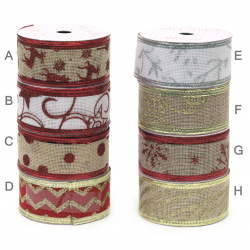 Decorative Christmas Ribbon, Textile, Wired Edge, Assorted Patterns 38mm ~ 1.85 meters