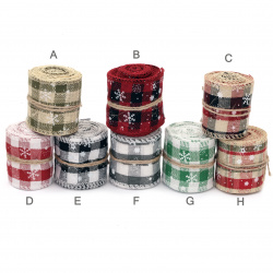 Decorative Christmas Ribbon, Cotton, Assorted Patterns 50mm ~ 2.75 meters