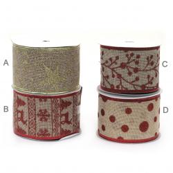 Panglică textilă 64 mm cu margine din aluminiu și imprimeu brocart Christmas ASSORTE -1 metru