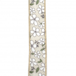Burlap ribbon with flowers 38 mm - 1 meter