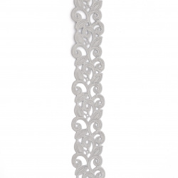 Лента сатен листа 25 мм сива -3 метра