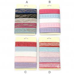 Лента текстил 25 мм 5 цвята x1.8 метра