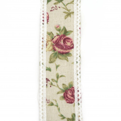 Cotton Ribbon for decoration vintage with lace cotton 5x200 cm