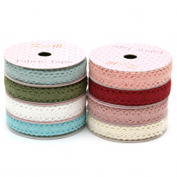 Ribbon lace cotton 15 mm  for Decoration assorted colors - 1.80 meters