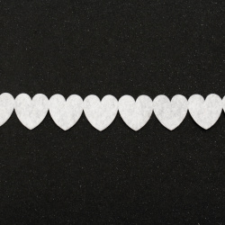 Textile tape 25 mm hearts white -9 meters