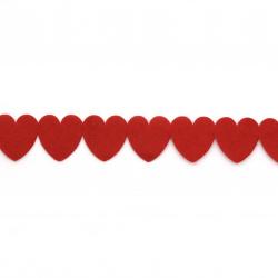 Лента текстил 25 мм сърца червена -9 метра