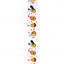 Polyester ribbon 25 mm rips emoticon -3 meters