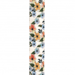 Banda din poliester 25 mm desen  flori de velur -3 metri