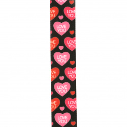 Polyester ribbon 25 mm heart rips -3 meters