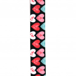 Polyester ribbon 25 mm rips hearts with anchor -3 meters