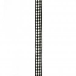 Лента текстил 10 мм каре бяло и черно - 3 метра