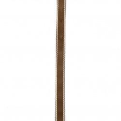 Лента сатен 9 мм рипс кафява с ламе сребро -5 метра