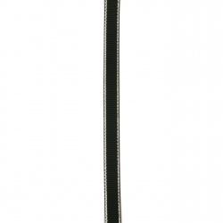 Лента сатен 9 мм рипс черна с ламе сребро -5 метра